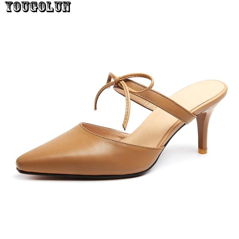 Summer Slides Genuine Leather Women High Heels(8cm)Sandals Sexy Bowknot Thin Heel Lady Casual Summer Shoe Woman Beige khaki Shoe