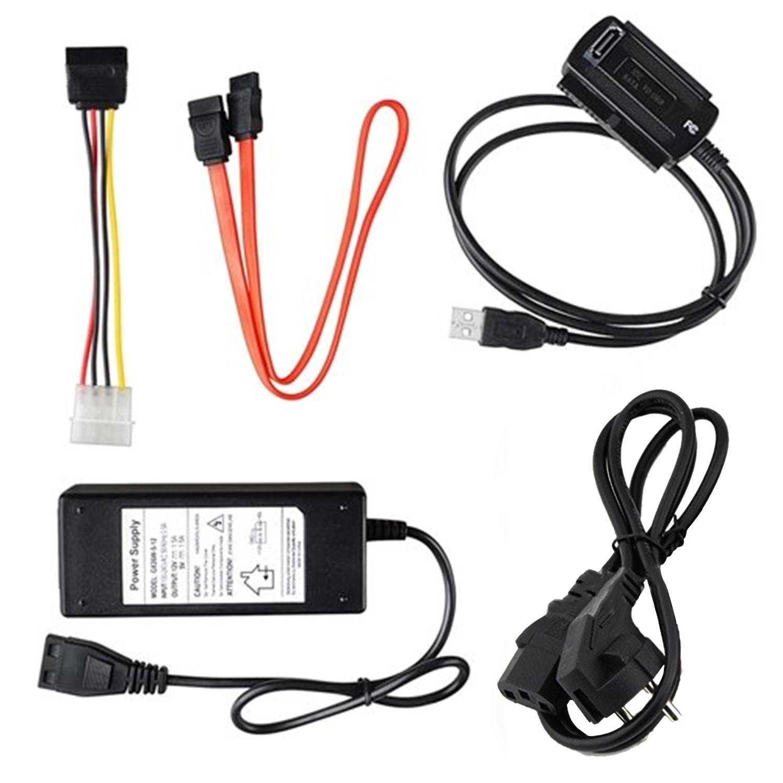 Hot Selling USB 2.0 to IDE SATA S-ATA 2.5 3.5 Hard Drive HD HDD Converter Adapter Cable EU Plug(China (Mainland))