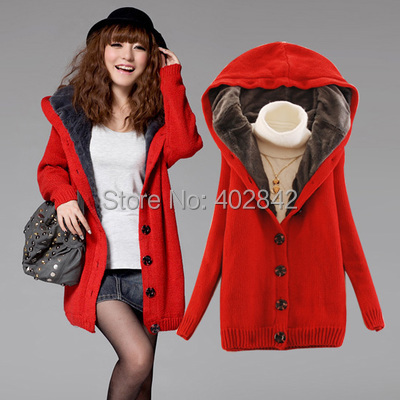 6026 Women solid New Fashion Super Cute color Sweatshirt thick velvet hooded long-sleeved cardigan sweater coat loose buttons - Sunny trade store