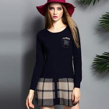 Winter/Autumn Clothes Computer Knitting Patchwork Woman Dress Pockets Decoration Slim Ladies Casual Dresses Fashion Design151005