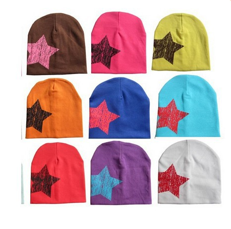 2015 Cute Baby Beanies Hats For Boy Girl Cotton Five Pointed Star Caps Soft Hats(China (Mainland))