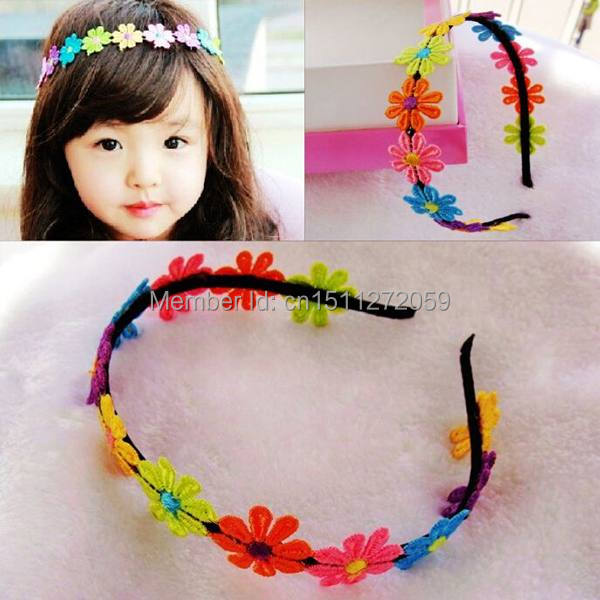 1PCS Lovely Baby Girls Child Fabric Flower Design Headband Hairbow Hairband Hairdress Free Shipping 9eJS(China (Mainland))