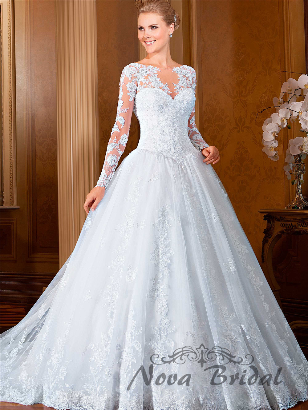 Ball Gown Wedding Dresses With Long Sleeves : Ball gown lace beading luxury bride gowns long sleeve wedding dresses