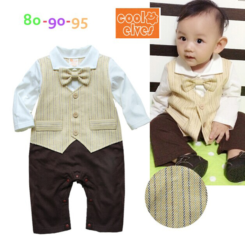 Formal Gentleman Suits Baby Boy Vest Tuxedo Romper Stripes Infant Long Sleeve Overalls(China (Mainland))