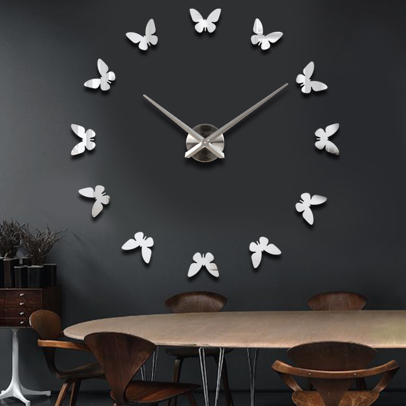 Home decoration large butterfly wall clock modern design - Wall picture clock decoration ...