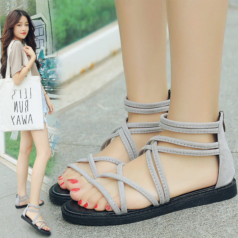 Free Shipping Hot-selling 2017 Summer New Fashion Female Students Flat Sandals Elagant Anti-skid Rome Shoes Back Zipper size