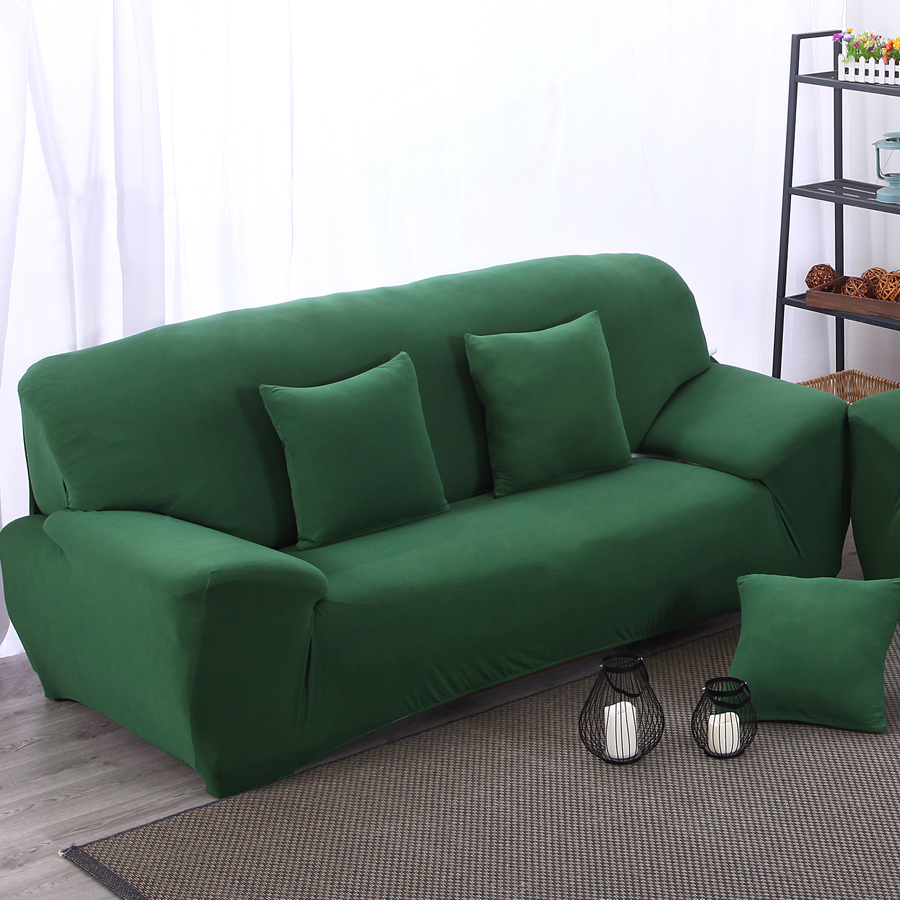 setter couch arm chair loveseat Chaise loungue three seater l corner sofa cover with elastic solid color dark green(China (Mainland))