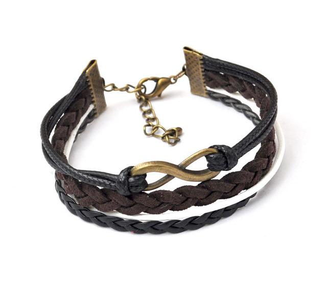 handmade 8 letter  bronze 3  threads Wax Rope  black  charm Bracelet Fashion Jewelry for girls [JCZL DIY Shop]