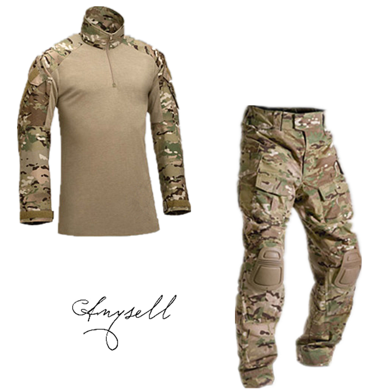 Tactical military uniform clothing army of the military combat uniform tactical pants with knee pads camouflage hunting clothes(China (Mainland))