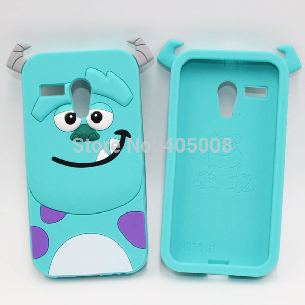 Cute 3D Cartoon Sulley Silicone Case Back Cover For Motorola Moto G Case Cover XT1028 XT1032 XT1031 Protective Phone Case Covers(China (Mainland))