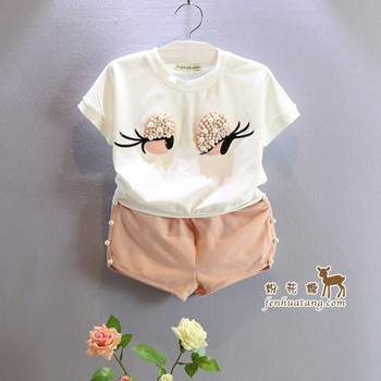 Fashion Lovely Cute Eyes clothes set white color T-shirt+solid Shorts kids clothing for baby girls children Christmas costumes