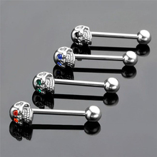 CZ Gem Punk Skull Tongue Ring Barbell Piercing Body Jewelry 316L Stainless Steel Jewelries 1pc(China (Mainland))