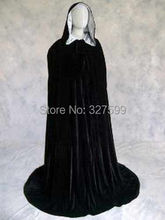 Free shipping New Black Velvet Lined in Silver Satin Cloak Gothic Wicca Robe Medieval Witchcraft Larp