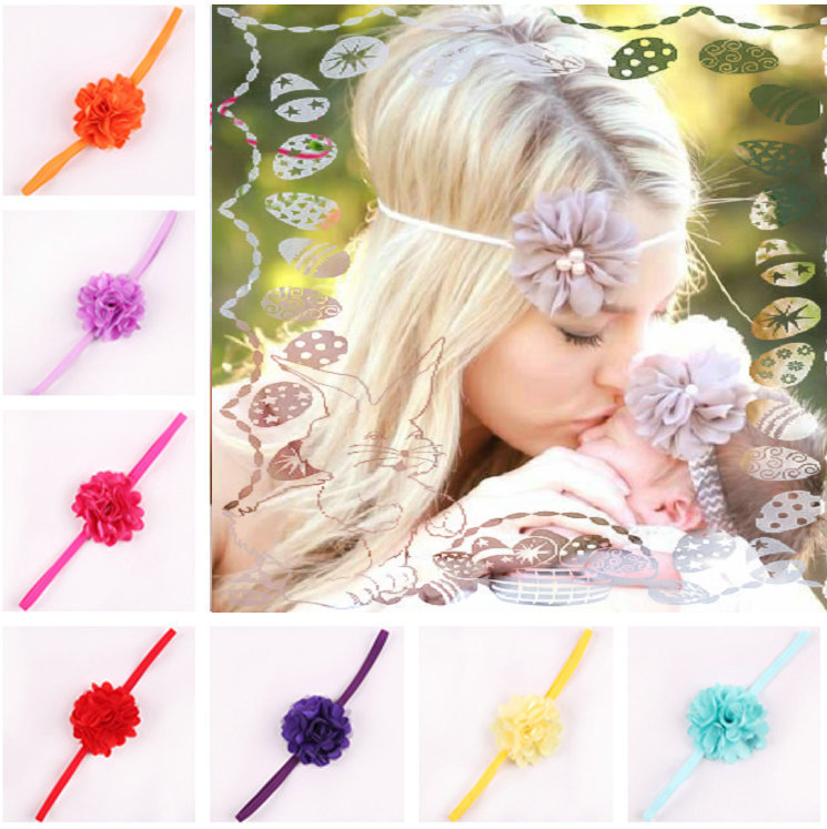 17 Color Chiffon Flower hairband Hair Accessories Baby Girls Lace Headband Baby Infant girl Hair Weave band childern hair clips(China (Mainland))