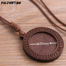 PULCHRITUDE 2pcs 25/30mm Inner Size Wood Cabochon Settings Blank Cameo Pendant Base Trays With Leather Cord For Jewelry Making(China)