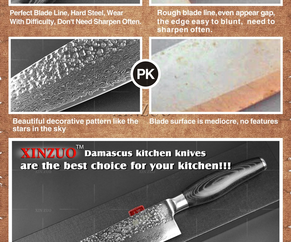Buy 5 pcs kitchen knives set Japanese VG10 Damascus steel kitchen knife set cleaver chef utility hammer striae forging free shipping cheap