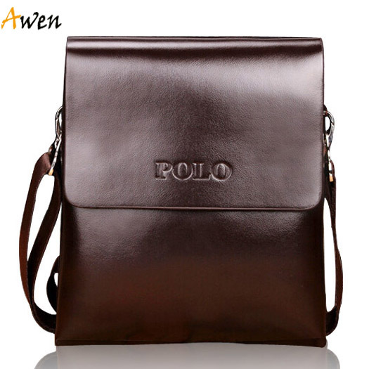 Awen hot sell brand POLO solid double pocket soft pu leather men messenger bag,small 2 layers mens travel bag,mens sport bag(China (Mainland))
