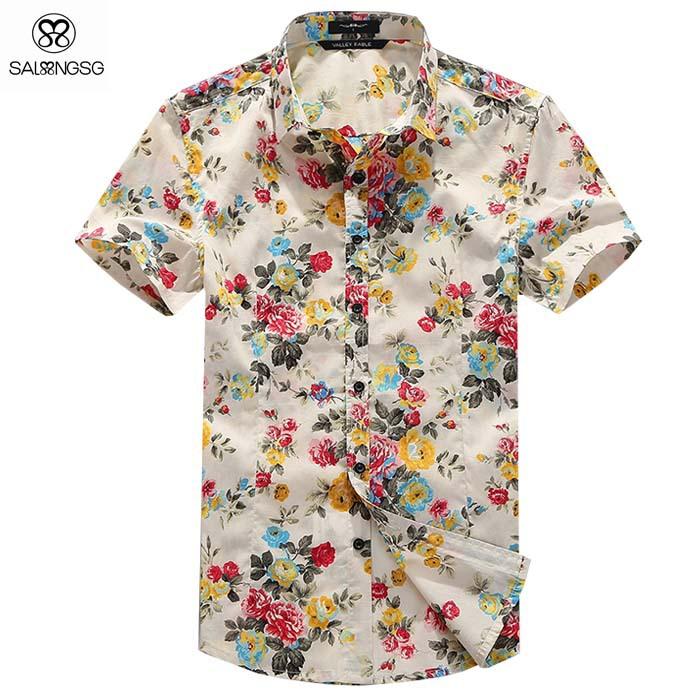 2015 Brand Men Floral Shirt Short Sleeve S Men Flower Printed Shirts ...