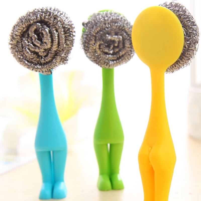 Useful Kitchen Pot Cleaning Brush Steel Wire Ball Amaranth Handle Scourer Novelty Home Clean Tools(China (Mainland))
