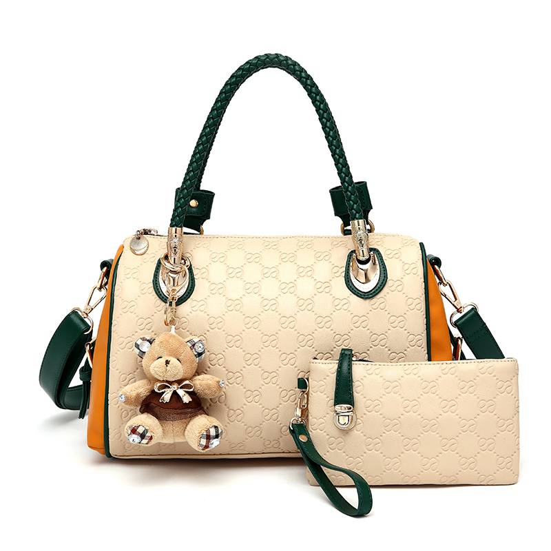 Toys Bear Women Fashion Handbag Fashion Women Leather Shoulder Bag Brand 3 in 1 Charm Women Messenger Bags 4 Colors Block(China (Mainland))