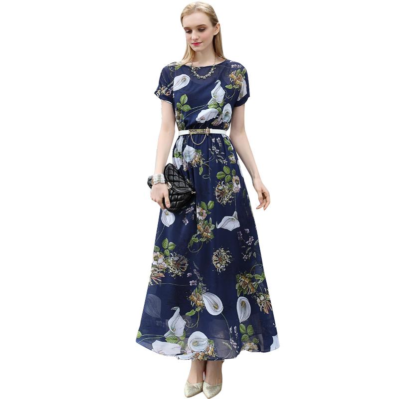 2016 Summer Plus Size Floral Print Maxi Chiffon Dresses Women Elegant Short Sleeve Long Dress Robe Longuee Femme 2812(China (Mainland))
