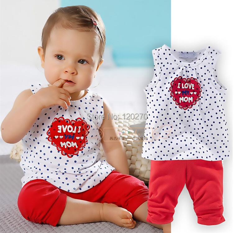 Summer Baby Girls Love Mom Vest Tops T-shirt Short Pants Suit Infant Toddler Kids Children's Outfits Set - Honey Baby's store