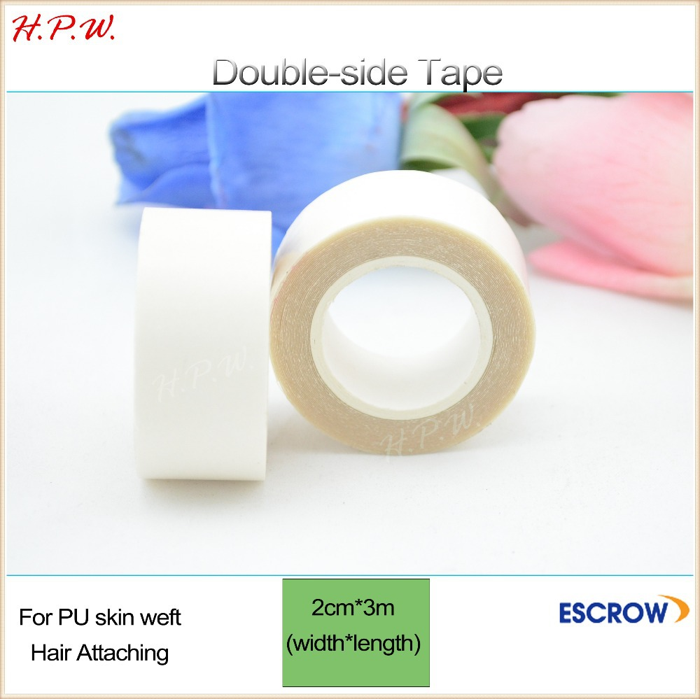 H.P.W. wholesale 200roll Double sided glue tape 2cm*3m for toupee/skin/wig and PU hair extension in adhesive tapes free shipping<br><br>Aliexpress