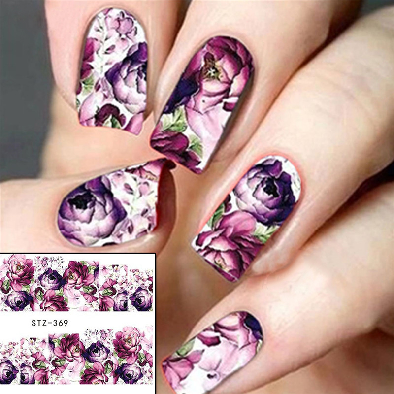 1 Sheet Purple Flower Full Wraps Nail Art Water Transfer Stickers Decals Beauty Nail Decor Watermark Nail Decals DIY LASTZ369(China (Mainland))