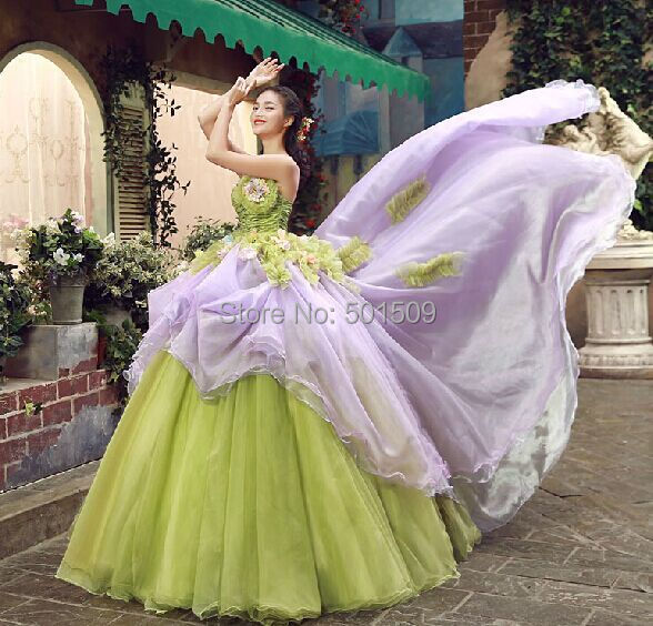 green violet lilac court ball gown Medieval dress Renaissance gown royal Victorian dress/princess cosplay Belle Ball/ball gown(China (Mainland))
