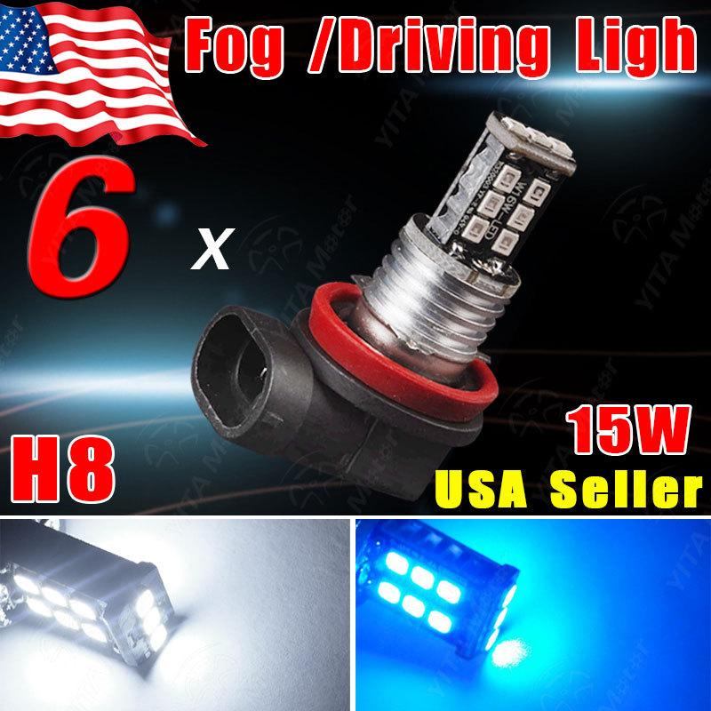 Big Promotion 6Pcs/lot White/Blue H8 15W smd LED Car Auto Day Driving Fog Lights Lamp Bulb DC12V External Car Light Source -0D(China (Mainland))