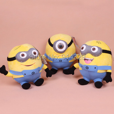 3pcs/lot Despicable ME2 Movie Plush Soft Toys 23cm Minions Stuffed Jorge Stewart Dave Minion Doll Baby Toy Kids Brinquedos Gifts