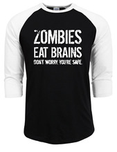 Buy Mens Zombies Eat Brains You're Safe T Shirt Funny Zombie Shirt 2017 summer autumn raglan tops brand 100% cotton shirts male for $7.79 in AliExpress store