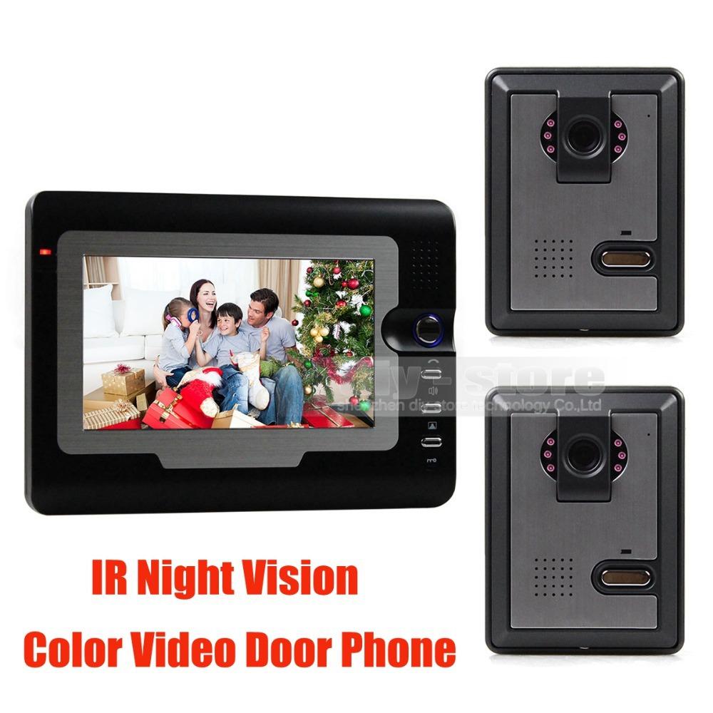 7inch Tft Lcd Video IR Door Phone Doorbell Home Security Intercom System 1 Monitor - 2 Camera Free Shipping(China (Mainland))