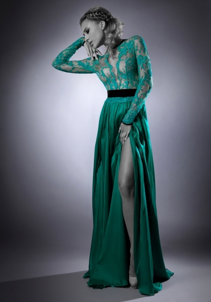 Floor Length Gown Vestido De Feista Scoop Neck Green Long Sleeve Evening Dress 2016 Open Back Lace Prom Dresses 2016(sf-l83)(China (Mainland))