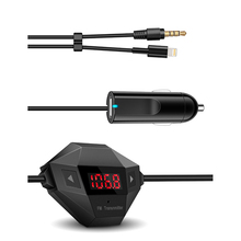 3.5mm AUX Plug Car Charger LCD Screen FM Transmitter Car Charger Micro USB DeviceDC 12~24V For iphone 6/ MP3/ Radio Adapter