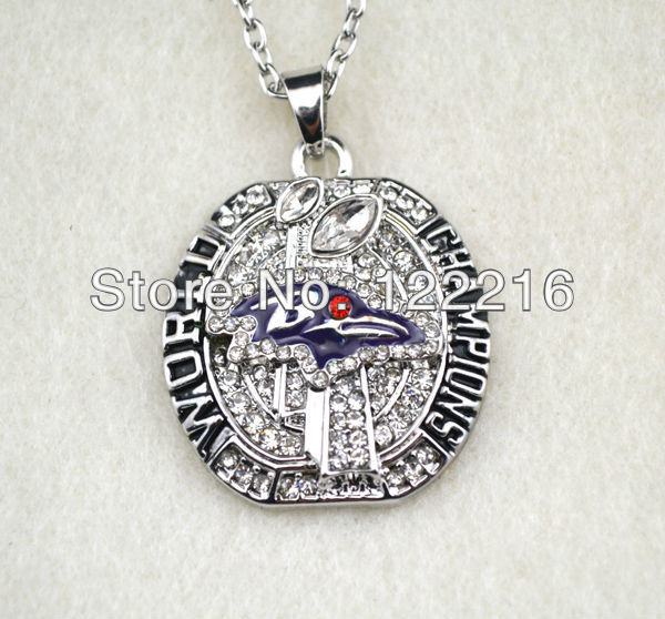 floating white rhinestone Baltimore Ravens Super Bowl World championship necklace sports jewelry(China (Mainland))