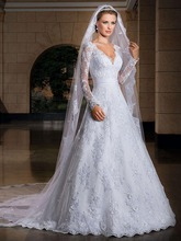V-neck with Long Sleeve Lace Wedding Dresses