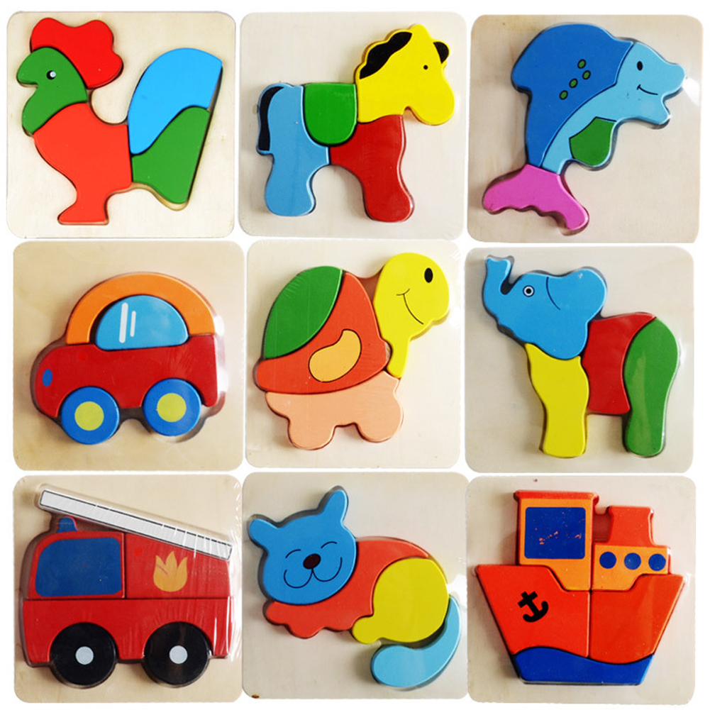 Wooden Animals Kid Baby Educational Development 3D Puzzle Toys for Children Puzzle Cartoon Jigsaw Picture Make Design(China (Mainland))