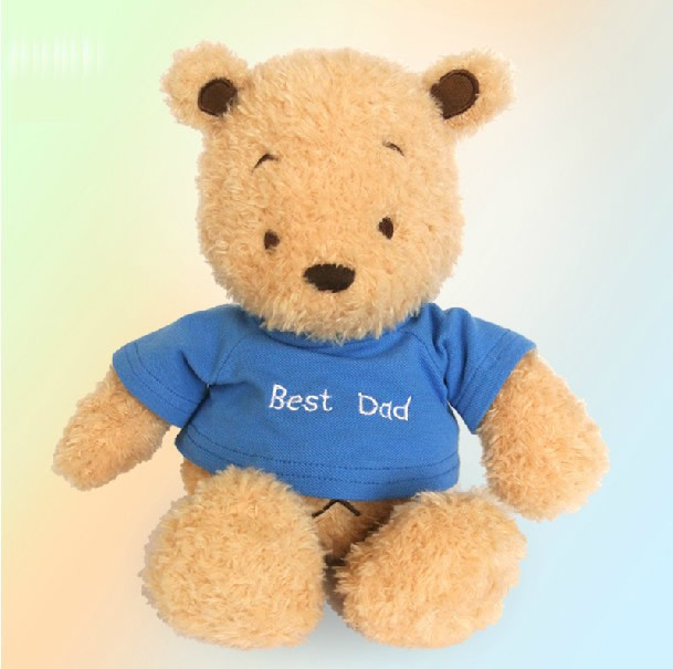 "Free Shipping 1pcs 30cm=11.8"" Blue dressTeddy Bear Stuffed animals Plush Toys for kids gift Special offer(China (Mainland))"