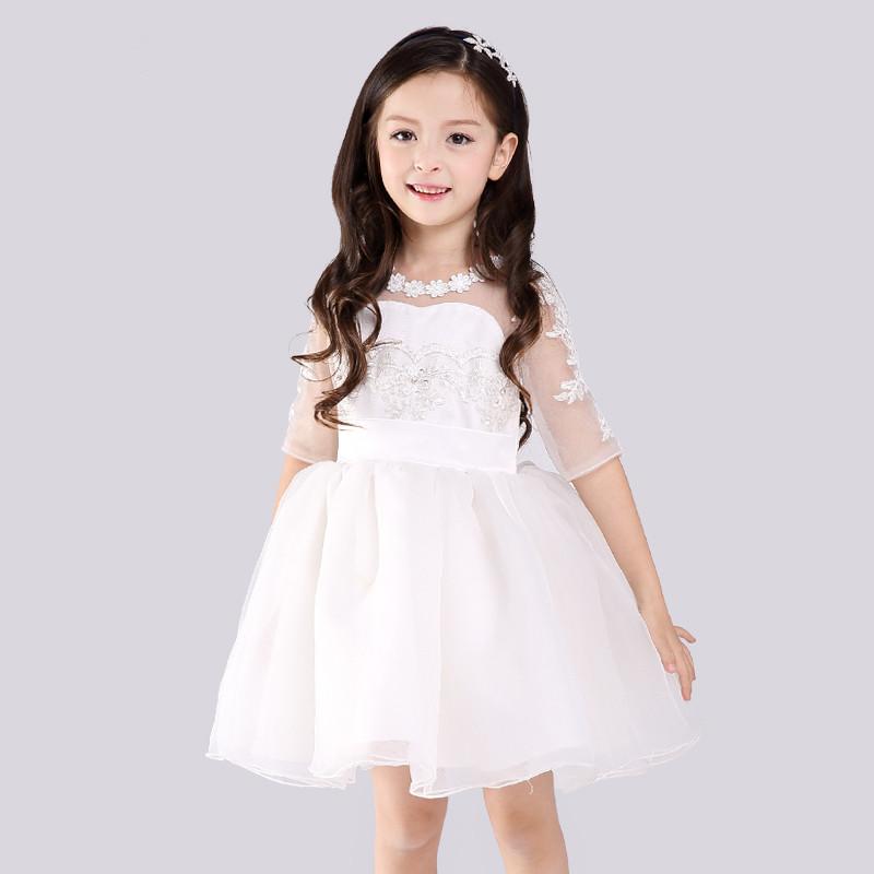 2016 New Formal Style Girl Dress Fashion White Elegant Children Vestidos For Girls Of 3 To 14