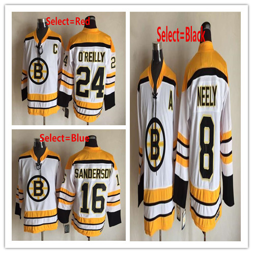 Men's #8 Cam Neely #16 Derek Sanderson #24 Terry O'Reilly White Gold Home Throwback CCM Embroidered Hockey Jerseys(China (Mainland))