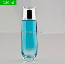120ml gradient blue glass bottle for toner or lotion or water packing(China (Mainland))