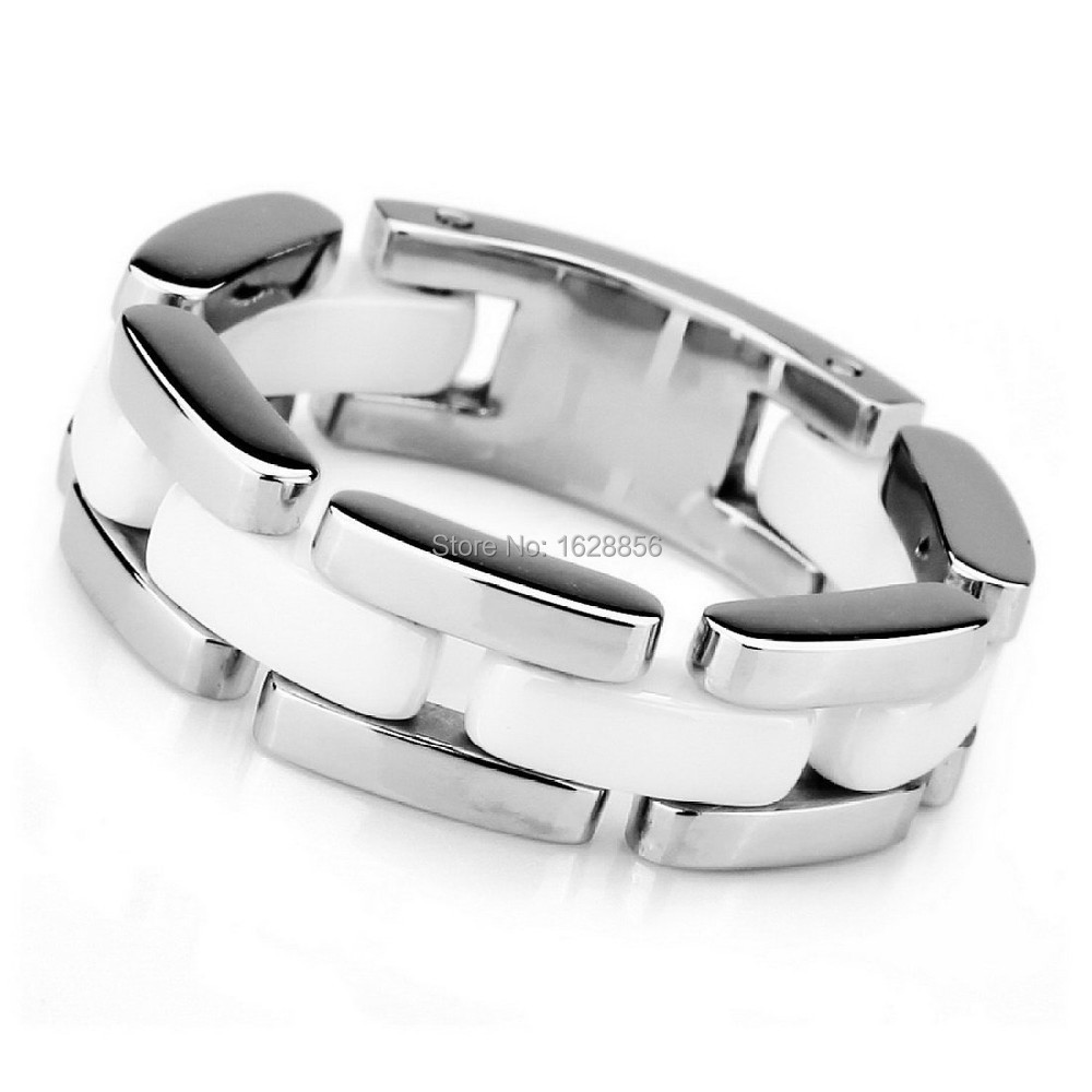 2015 Men's Stainless Steel Ceramic Ring Band Silver White Hollow Openwork Links Polished Unique - Fine jewelry Chinese shop store