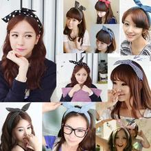 1Pcs Cute Korean Dots Bunny Rabbit Ear Ribbon Headwear Hairband Metal Wire Scarf Headband Hair Band Accessories Free shipping(China (Mainland))