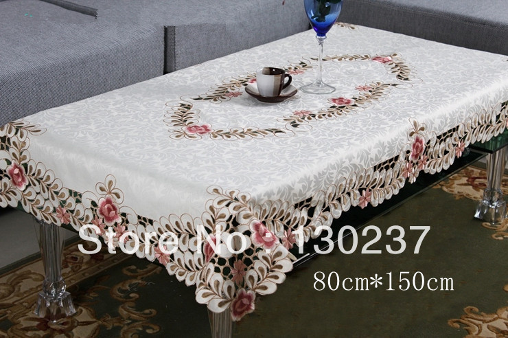6730/80 cm * 150 cm Chinese embroidered tablecloths / rectangular openwork table cloth art / placemat / tea table cloth(China (Mainland))