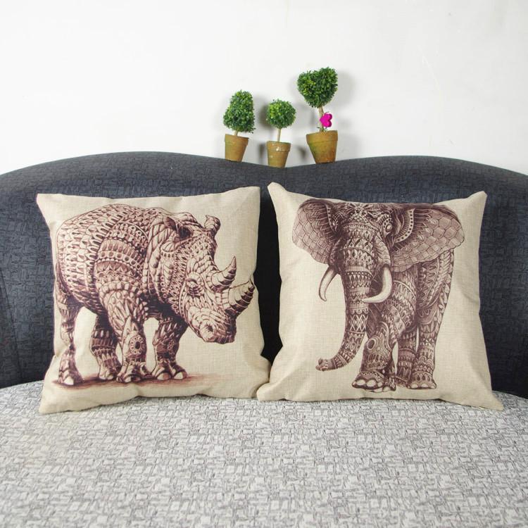 Nova 42 x 42 cm algodão roupa de decoração elefante rinoceronte de lance casos praça de fronhas Car Back capa de almofada grátis frete(China (Mainland))