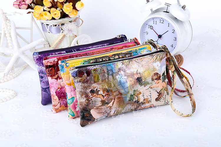 2015 the latest printing design lady long purse Handbags little angel Butterfly pattern change purse(China (Mainland))
