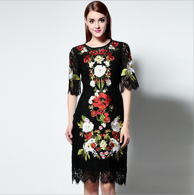 European High Quality Summer Dress 2016 New Fashion O-Neck Half Sleeve Lace Embroidery Dress Women Dresses Plus Size Lace DressОдежда и ак�е��уары<br><br><br>Aliexpress