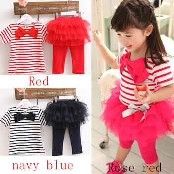 2015 NEW Girls clothing set free shipping Kids set summer wear Short sleeve suit Children clothing suit t shirt+pants stripe bow