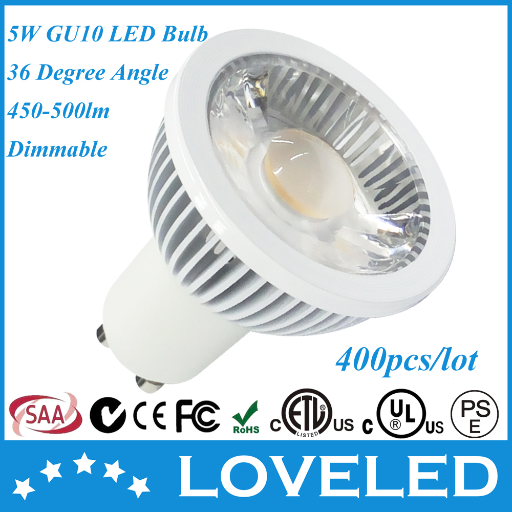 Factory Price 500lm 50W Halogen Equal Dimmable GU10 Spotlight LED COB Bulb 5W 220V 120V 6000K Cool White Free Fedex+400pcs(China (Mainland))